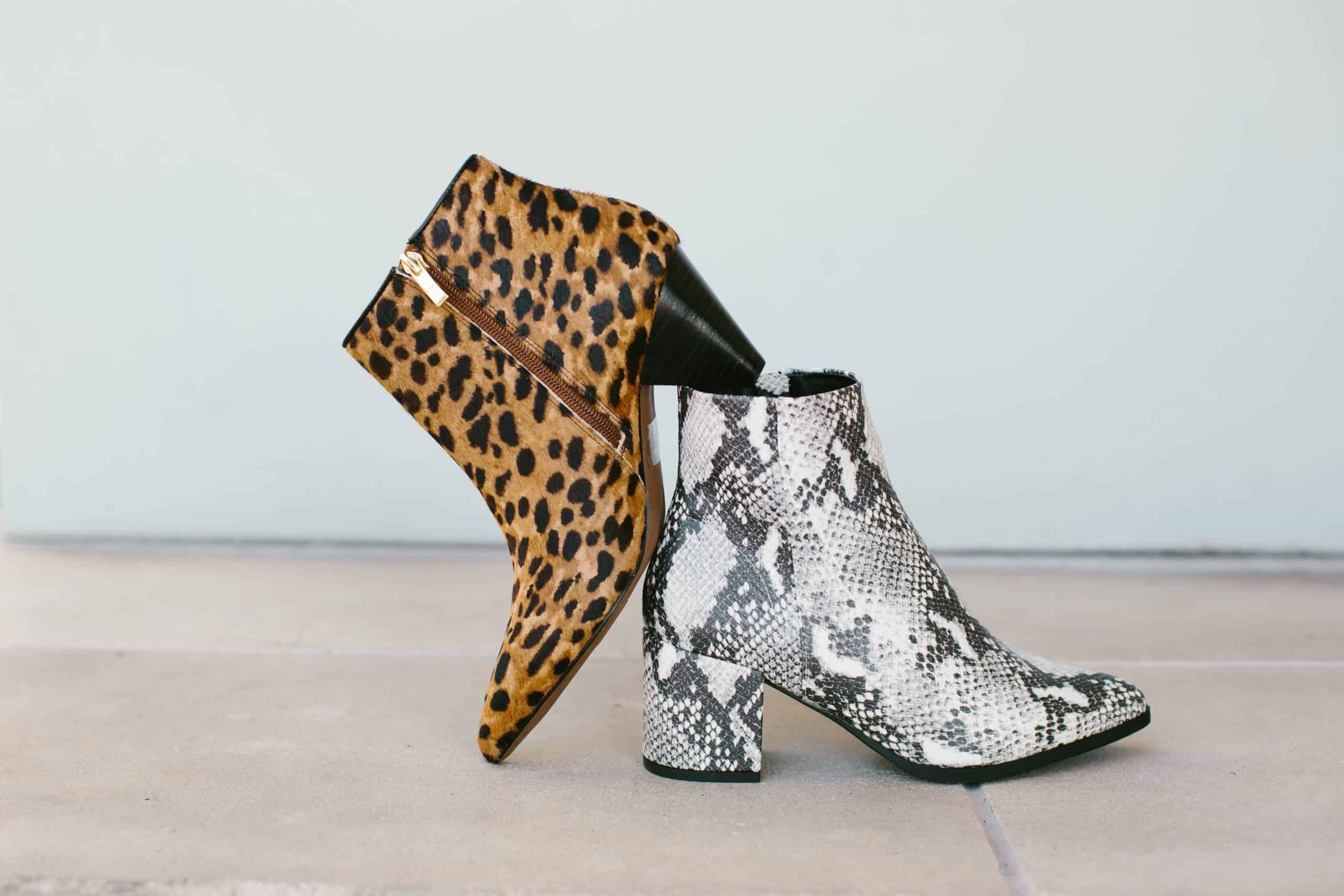 Cheetah Print and Snake Print Ankle Boots for Cheap And Cute Boots For Women Under $100