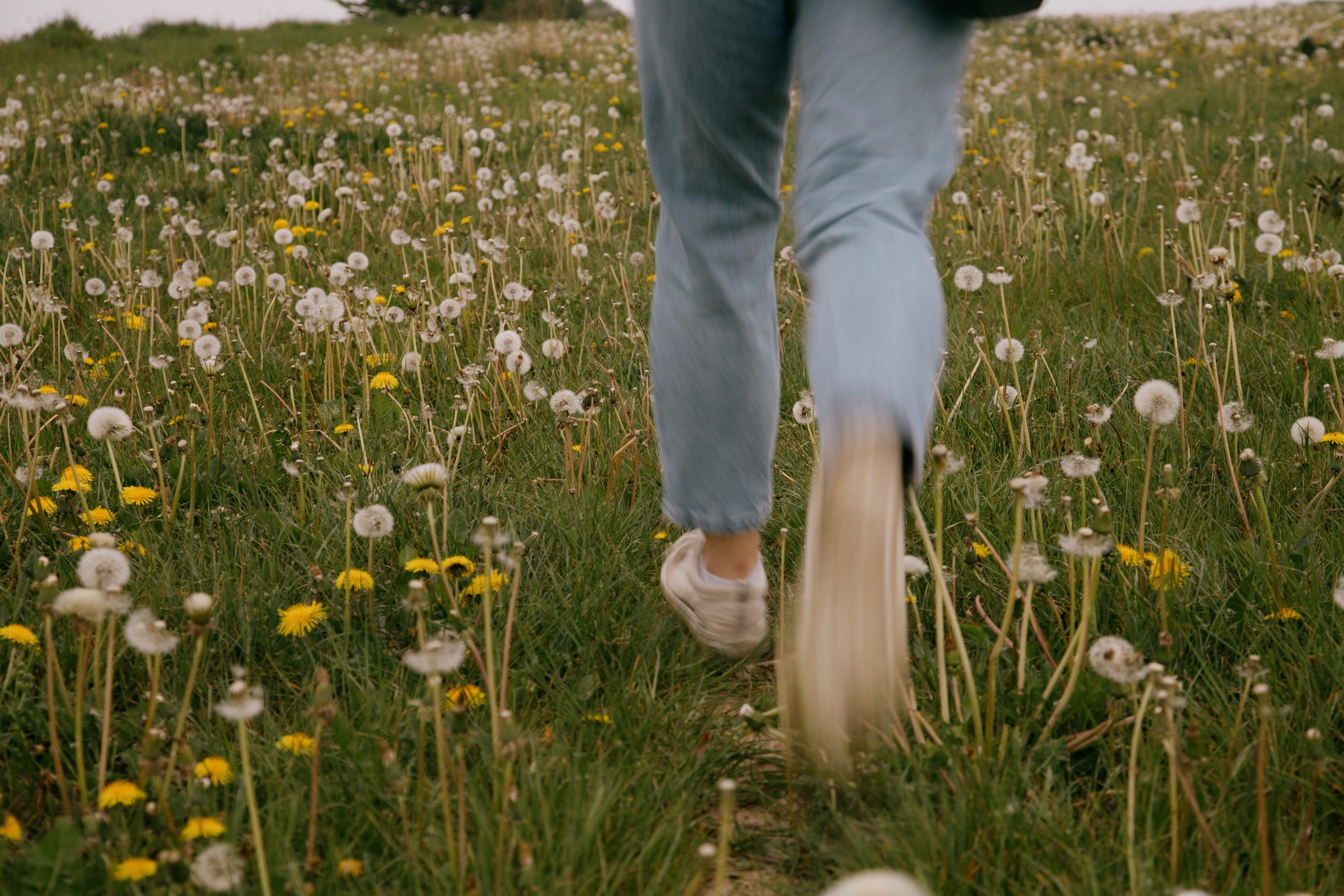 Girl Running Through Flowers