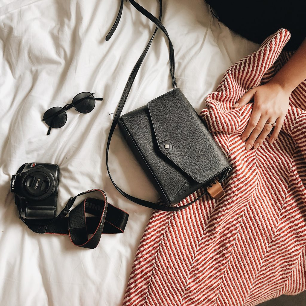 Best Affordable Handbag Brands Pic with handbag, camera, and glasses
