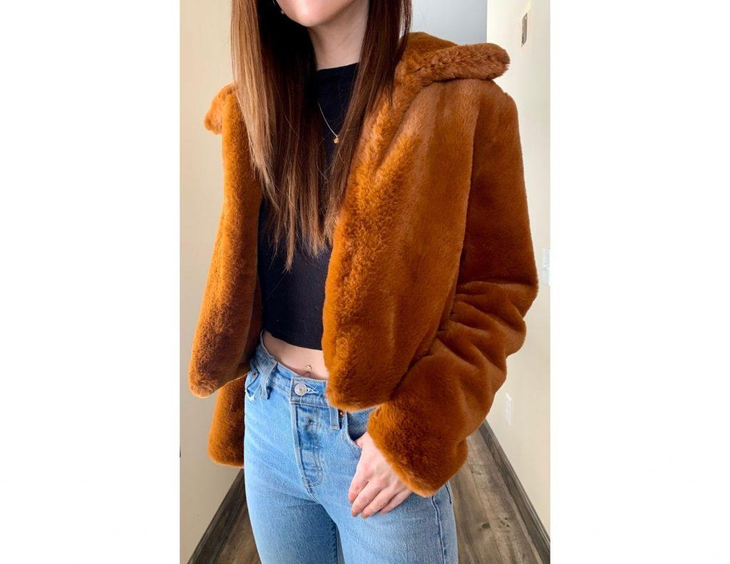 Orange Faux Fur Coat