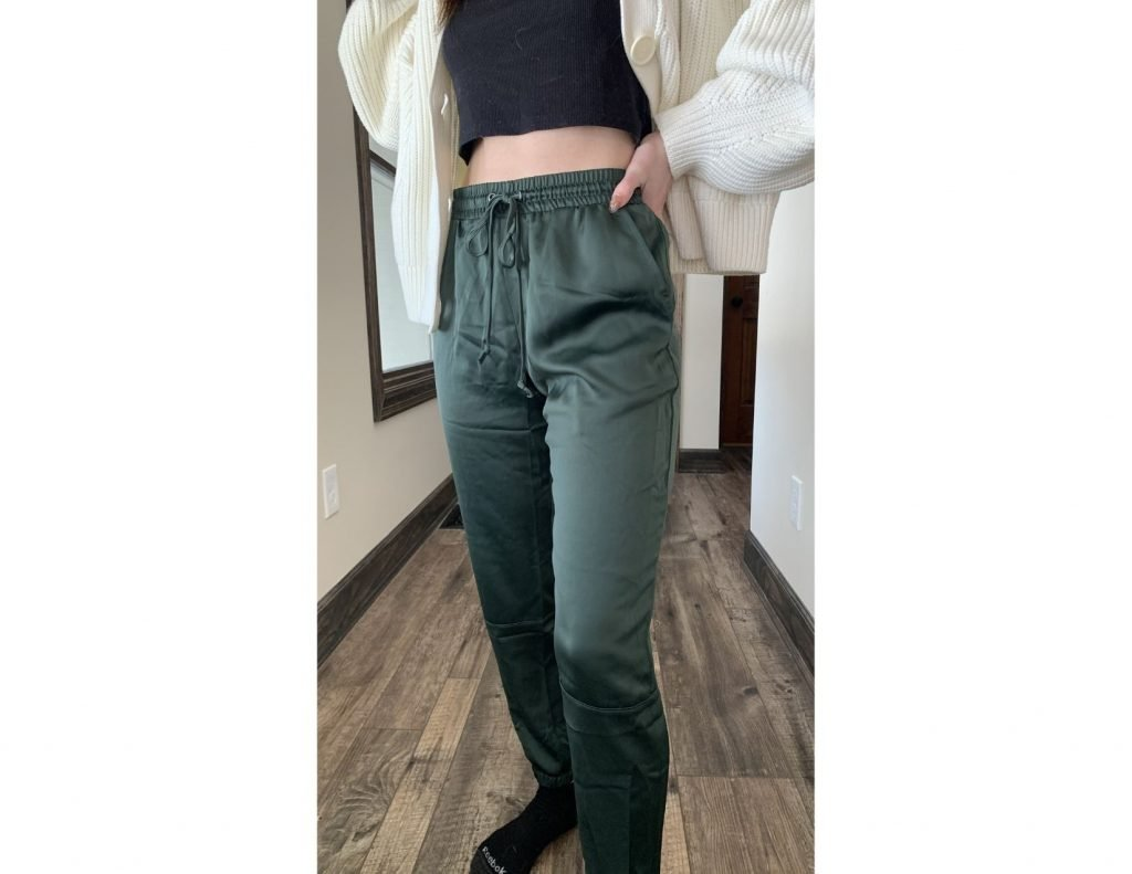 Green Satin Joggers - Trunk Club Review