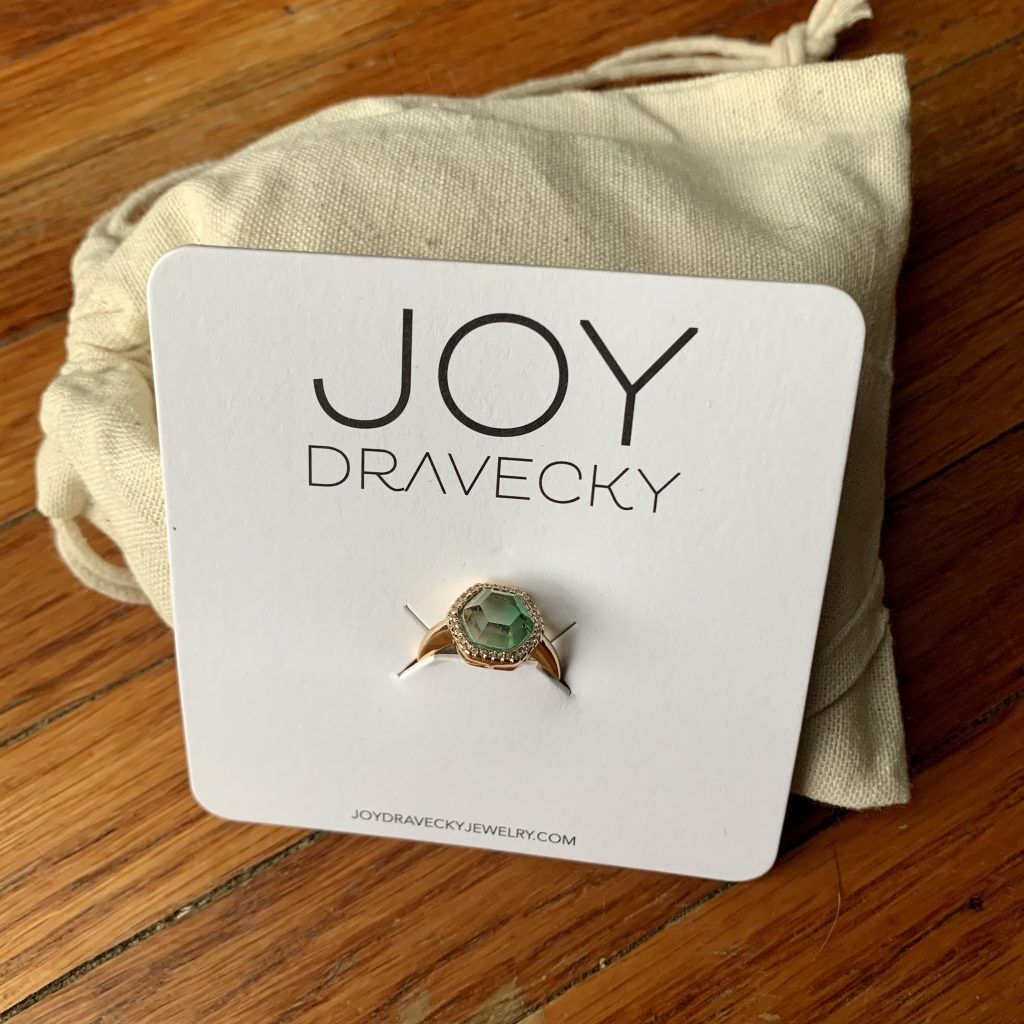 Gold Ring With Green Gem and Diamonds Around it - FabFitFun Review