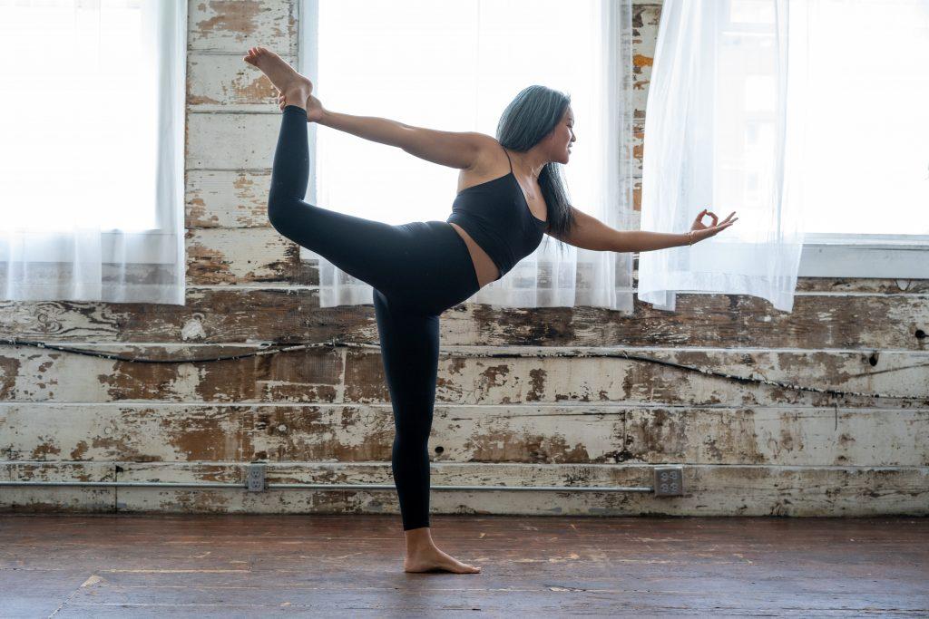 Women doing yoga for women's activewear brands